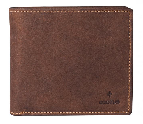 Cactus Mens Canvas Wallet Mala Brown Leather with RFID Protection With Coin Pocket