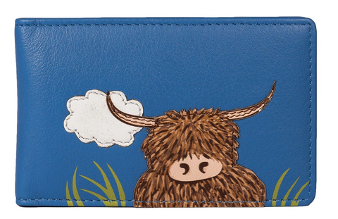 Mala Leather Blue 'Bella' Scottish Highland Cow Coo ID / Card Holder Wallet - RFID Protected