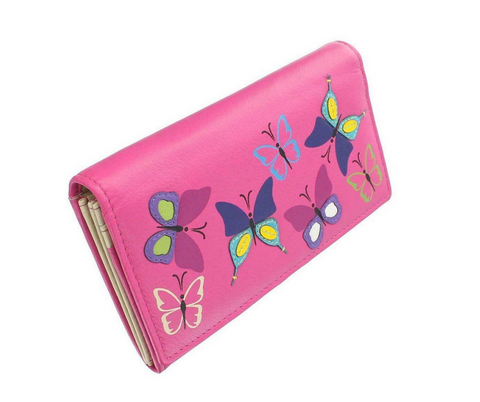 Large Mala Mimosa Butterfly Flap Purse Wallet Grey or Pink with RFID Protection