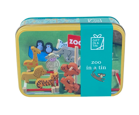Apples To Pears Gift In A Tin Wooden Zoo Animals