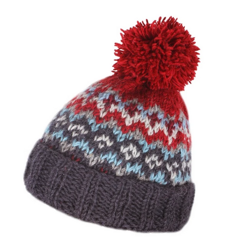 Sustainable Fair Trade Clifden Red Blue Natural Wool Mens Bobble Beanie Hat