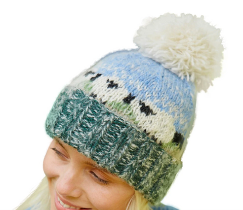 Sustainable Fair Trade Hazy Flock Of Sheep Blue Green Natural Wool Bobble Beanie Hat