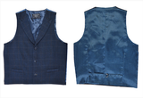 Navy Blue Check Tailored Fit Wool Waistcoat Vest Gilet With Contrast Spot Back