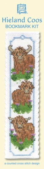 Three Scottish Highland Cow Coo Bookmark Cross Stitch Kit