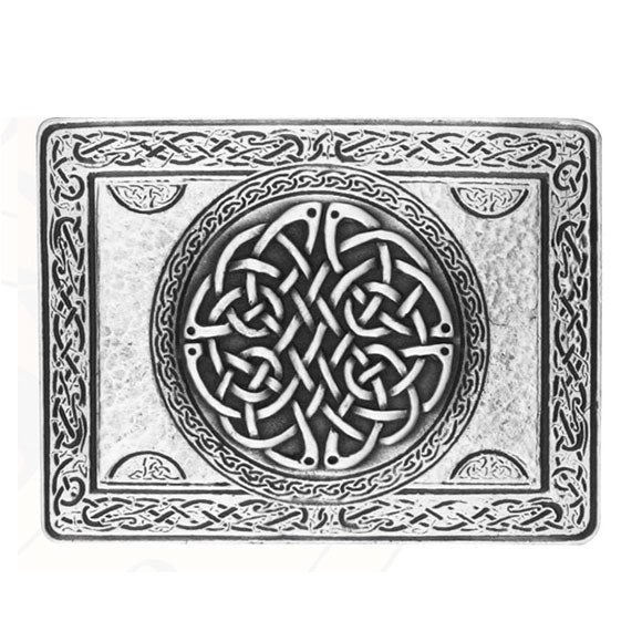 Wallace Rectangular Celtic Knot Antique Silver Plated Kilt Belt Buckle