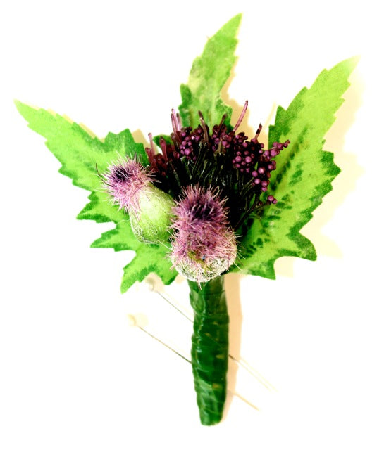 Beautiful Small Purple Thistle Everlasting Buttonhole Corsage perfect for Boys / Ladies