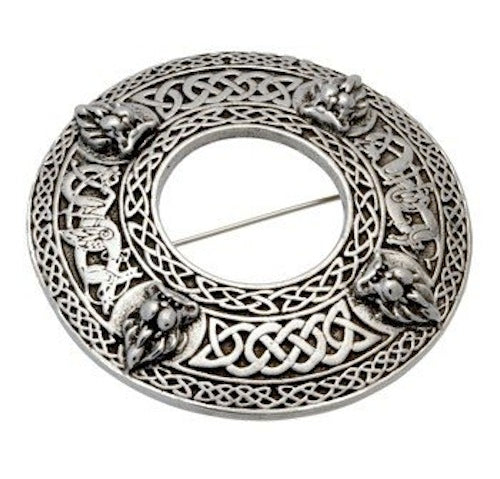 Stunning Four Lion with Celtic Knot Work Cast Pewter Scottish Plaid Sash Brooch