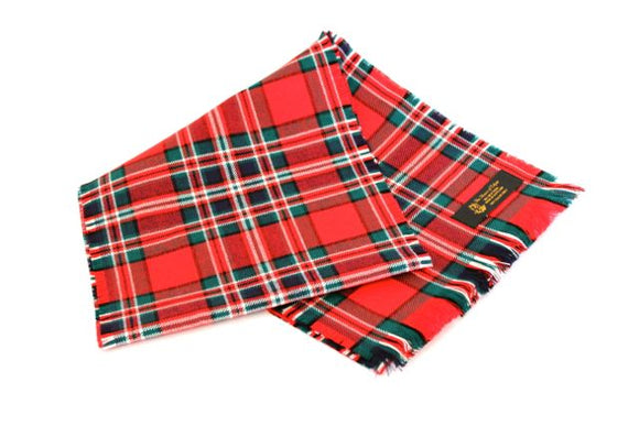 Traditional Scottish Tartan 100% Wool Plain Full Fringed Sash - MacFarlane Red Modern
