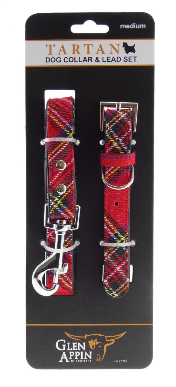 Lovely Red Royal Stewart Tartan Dog Lead and Collar Set - Available in 3 Sizes