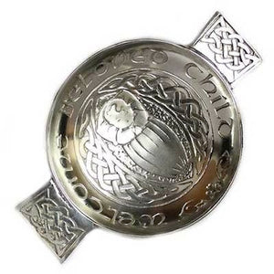 "Scottish Pewter Celtic Toasting Quaich "" Welcome Beloved Child """