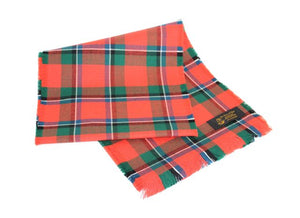 Traditional Scottish Tartan 100% Wool Plain Full Fringed Sash - Sinclair Red Ancient