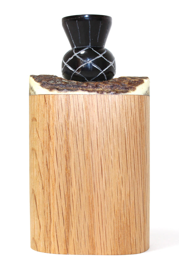 Stunning Scottish Hardwood Hip Flask with Carved Bullhorn Thistle Cap