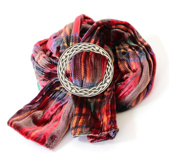 Ladycrow Twisted Red Tartan Velvet Scarf and Stunning Pewter Scarf Ring Set