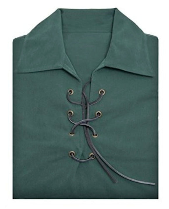 Deluxe Jacobite  Jacobean Ghillie Shirt - Green. Own Brand. 7 Sizes Available