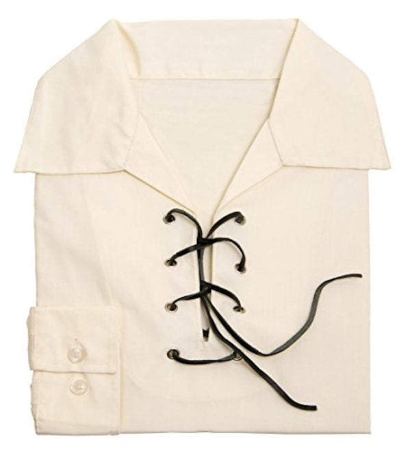 Deluxe Microfibre Jacobite Jacobean Ghillie Shirt in Cream / Ecru. Own Brand.