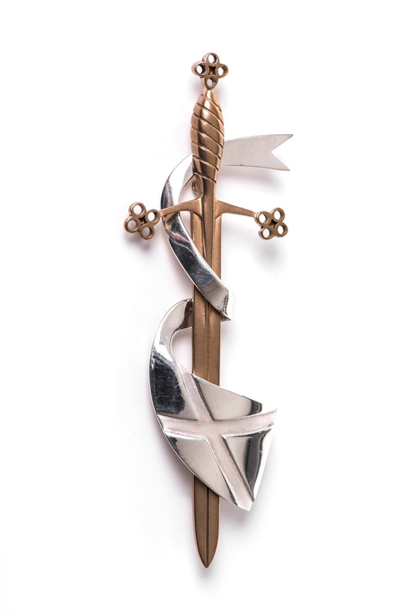Solid Sterling Silver and Bronze Sword and Waving Saltire Scottish Kilt Pin