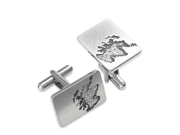 Stunning Scotland Silhouette Cufflinks in Brushed Pewter
