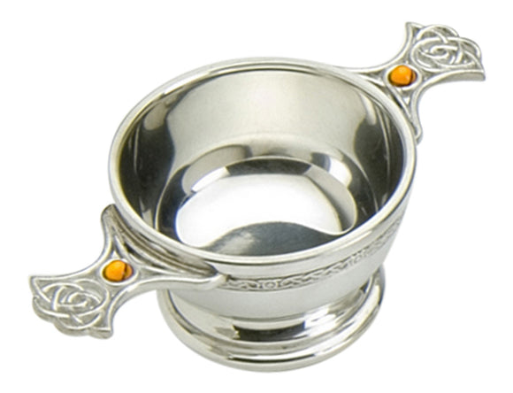 Traditional Scottish 2 Inch Pewter Toasting Quaich - Eternal Celtic Handles inset with Topaz