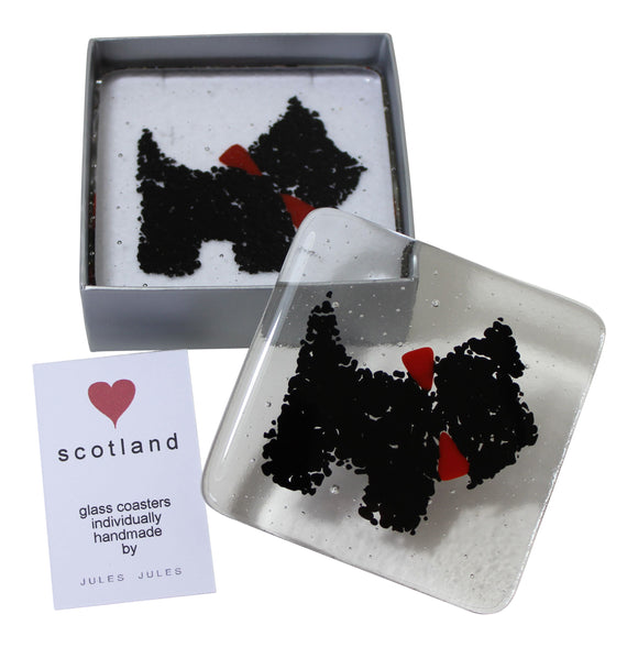 Pair of Handcrafted Fused Glass Coasters Featuring A Black Scottie Dog
