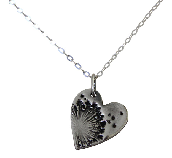 Stunning Delicate Fine Silver Dandelion Wish Heart Pendant Necklace and Chain