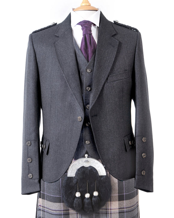 Crail Highland Jacket & Waistcoat in Charcoal Grey Arrochar Tweed Short Fit