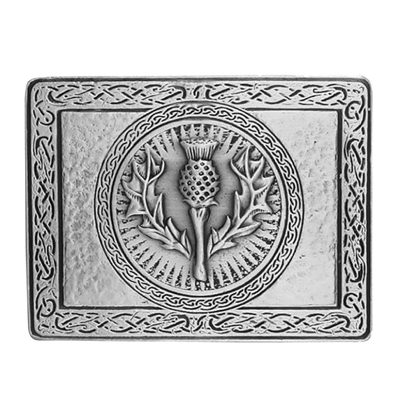 Wallace Thistle Antique Silver Plated Kilt Belt Buckle