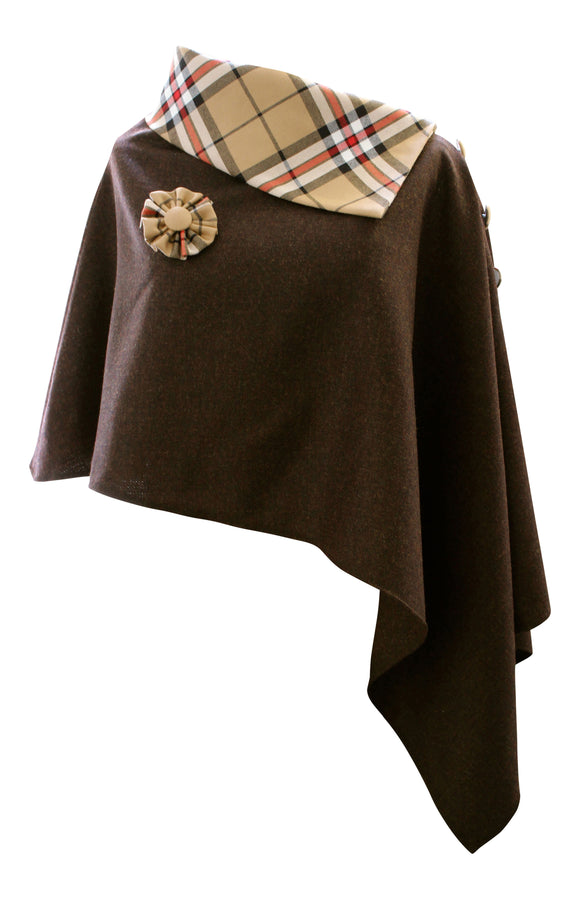 Stunning Brown Mocha Tweed Poncho Cape Wrap with Thomson Camel Tartan Roll Neck