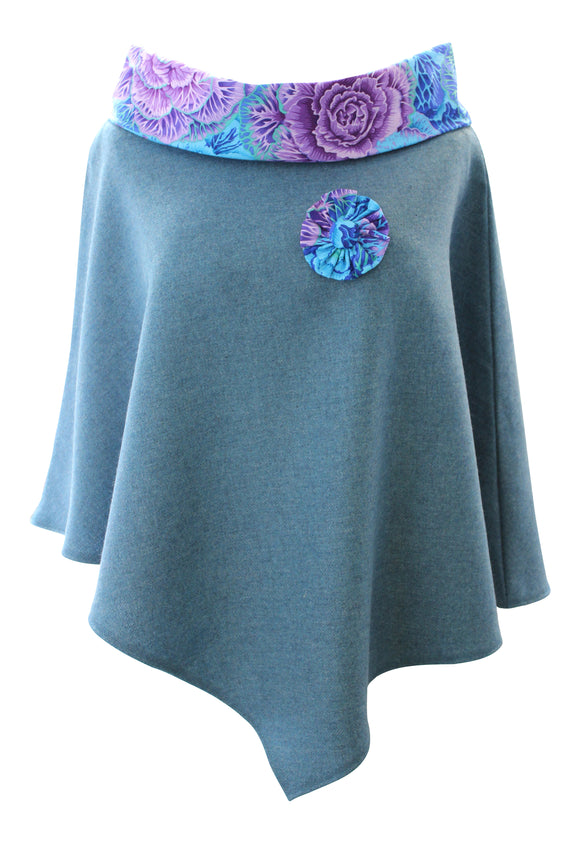 Stunning Sea Green Tweed Poncho Cape Wrap with Eucalyptus Purple and Blue Roll Neck Collar