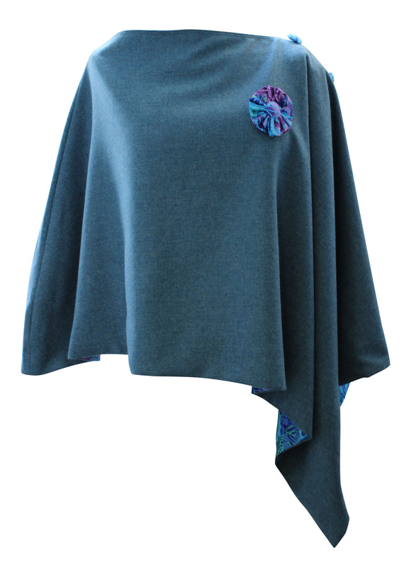 Stunning Sea Green Tweed Poncho Cape Wrap with Eucalyptus Purple and Blue Lining