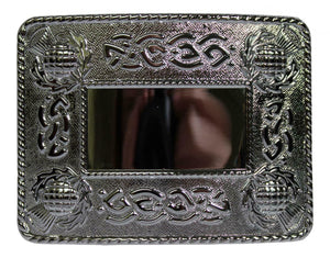 Celtic Thistle Polished Chrome Kilt Belt Buckle