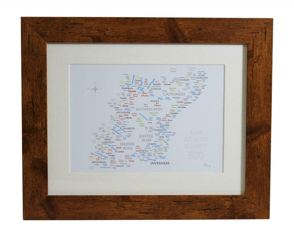 Art By The Loch Handmade Scottish North Coast 500 Route Word Art Picture