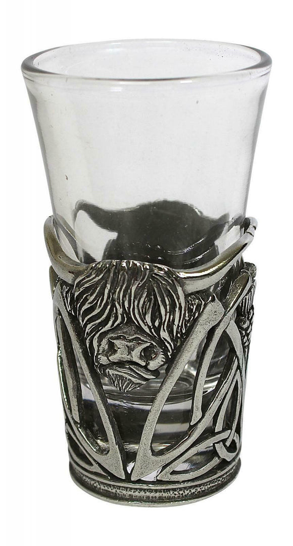 Stunning Pewter Scottish Highland Cow Coo Shot Tot Dram Glass