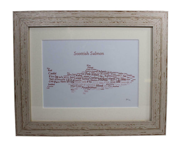 Art By The Loch Handmade Scottish Salmon Fish Word Art Picture