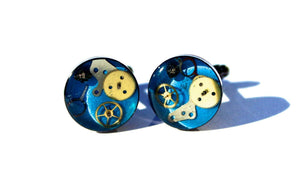 Unique Hand Crafted Cufflinks with Vintage Mechanical Watch Gears Cogs - Blue
