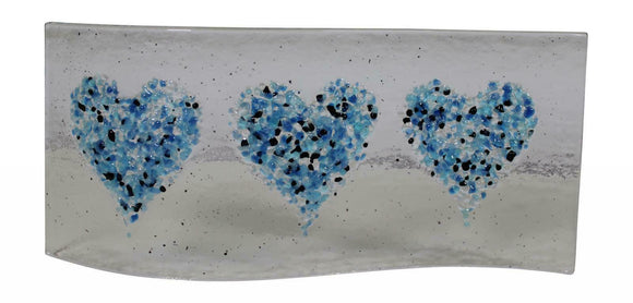 Jules Jules Hand Crafted Blue Love Heart Fused Glass Wave Panel