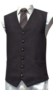 Mens Wool Blend Tweed Waistcoat Vest Gilet - Brown Herringbone