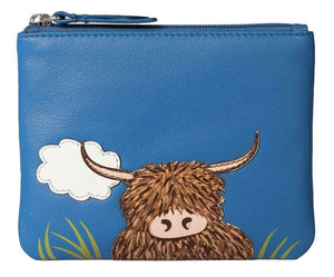 Blue Leather Zip Top Coin Pocket Purse Wallet Scottish Highland Cow Coo Applique