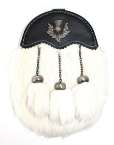 Dress Sporran White Rabbit Fur with Leather Cantle and Antique Thistle Badge