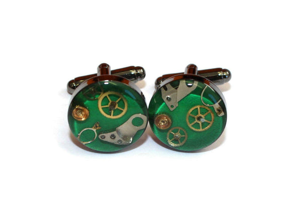 Unique Hand Crafted Cufflinks with Vintage Mechanical Watch Gears Cogs - Green