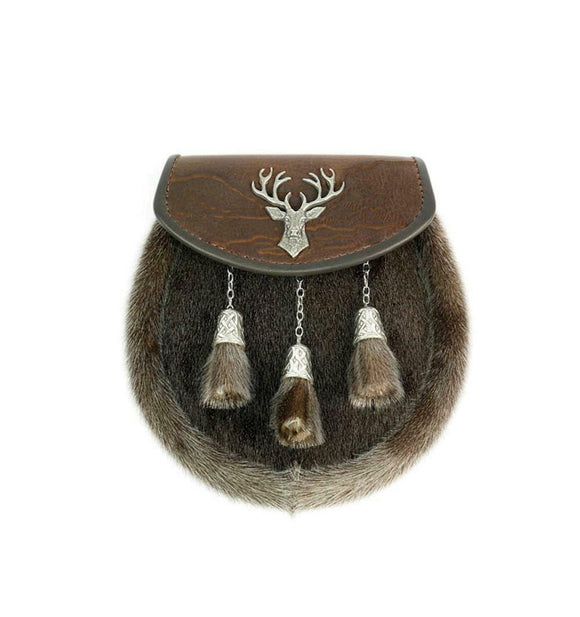 Stunning Full Dress Brown Saddlery Leather Scottish Highland Stag Finish Sporran