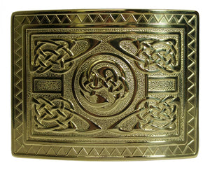 Highland Swirl Celtic Knot Kilt Belt Buckle - Gilted Polished Brass