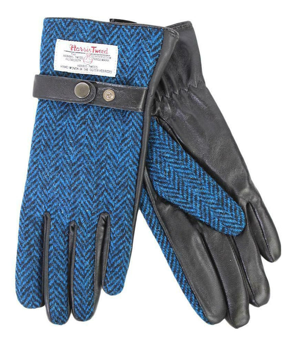 Ladies 100% Harris Tweed Traditional Blue Herringbone Tweed Black Leather Gloves