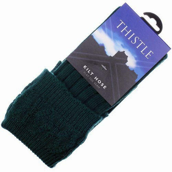 Thistles Shoes High Wool Calve Length Kilt Hose Socks Bottle Green - UK 5 to 6