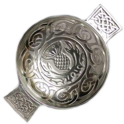 Scottish Pewter Thistle and Eternal Life Celtic Knot Traditional Toasting Quaich