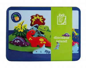Apples To Pears Giant Tin Dinosaur Island Wooden Dinosaurs & Play Mat In A Tin