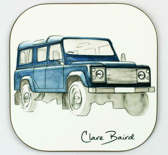 Clare Baird Classic Blue Land Rover Coaster Table Mat