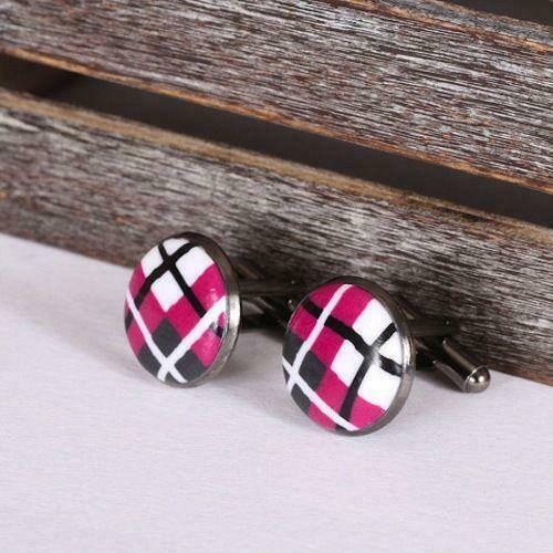 Scottish Designer Pink Tartan Clay Cufflinks Polished Gun Metal T-Bar Fixings