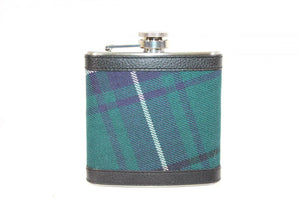 100% Scottish Tartan Wrapped 6oz Stainless Steel Pocket Hip Flask - Dress Watch