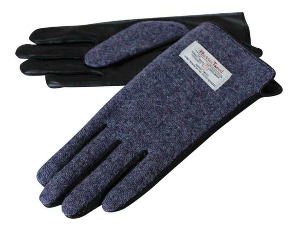 Ladies 100% Harris Tweed Traditional Purple Blend Tweed and Leather Gloves