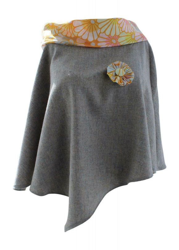 Stunning Grey Tweed Poncho Cape Wrap with Yellow Flower Collar